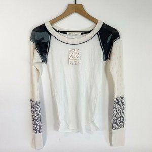 Free People White Mixed Print Thermal Knit T-Shirt